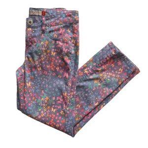 SO Blue Floral Print Jeans Adjustable Waist 12